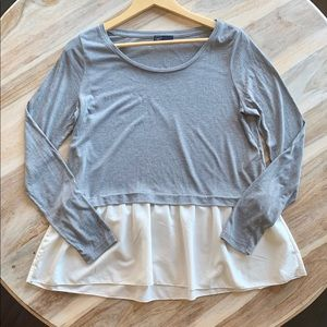 Gap Grey and Cream Peplum Shirt